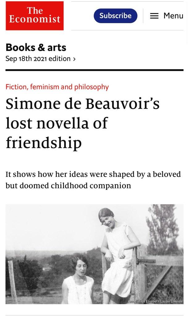 Fiction, feminism and philosophy-Simone de Beauvoir's lost novella of friendship. Economist