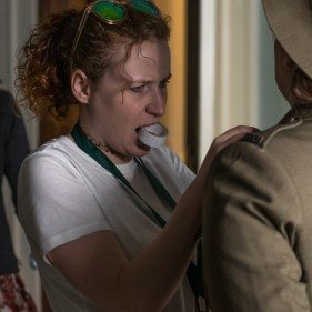 Wardrobe, Greta Weiner preps Sally McLean's uniform on set