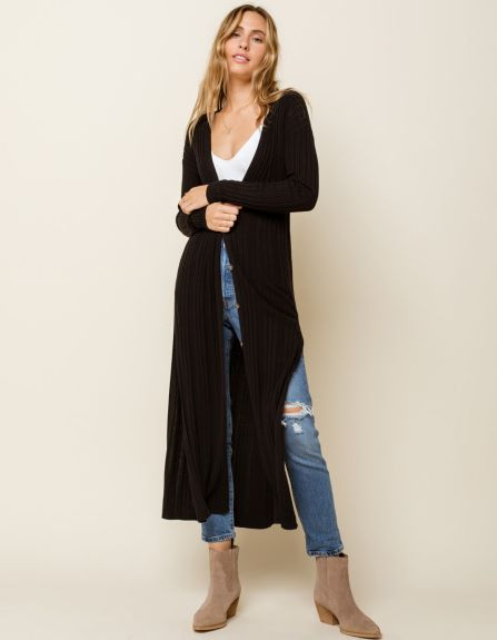 West of Melrose Get To The Bottom Of It Button Womens Maxi Cardigan
