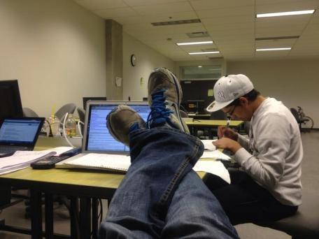 Late night working on campus