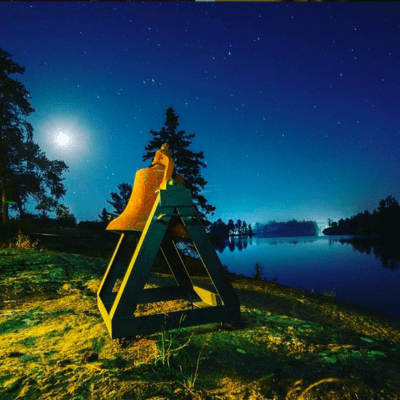 night view of the bell on the french river