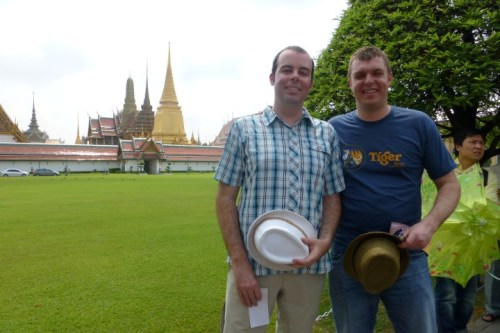 Us outside the Temple of the Reclining Buddha