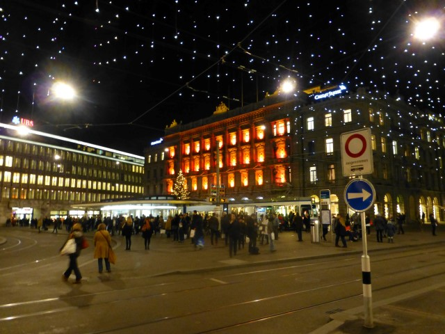 Tour of Zürich - Paradeplatz all decked out with Christmas lights