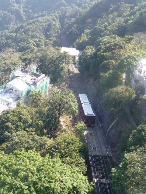 Peak Tram making its way up the mountain.