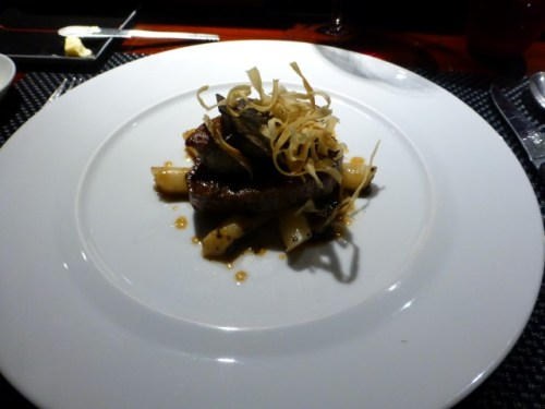 LE BŒUF DE KAGOSHIMA - Pan seared Kagoshima beef tenderloin and foie gras, salsify with black truffle and parmesan cheese