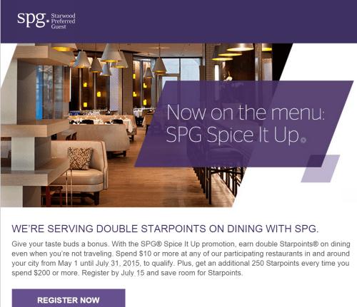 SPG Dining Promo