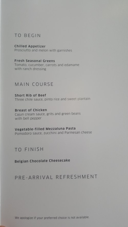 United BusinessFirst Menu to Lima