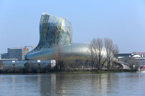 A picture taken on March 14, 2016 in Bordeaux, southwestern France, shows a general view of the Wine Civilisations Museum (Cite des civilisations du vin). The official opening of the 14,000 m2 building, designed by the architects Nicolas Desmazieres and Anouk Legendre from X-TU agency, is scheduled for June 2016. / AFP / NICOLAS TUCAT        (Photo credit should read NICOLAS TUCAT/AFP/Getty Images)