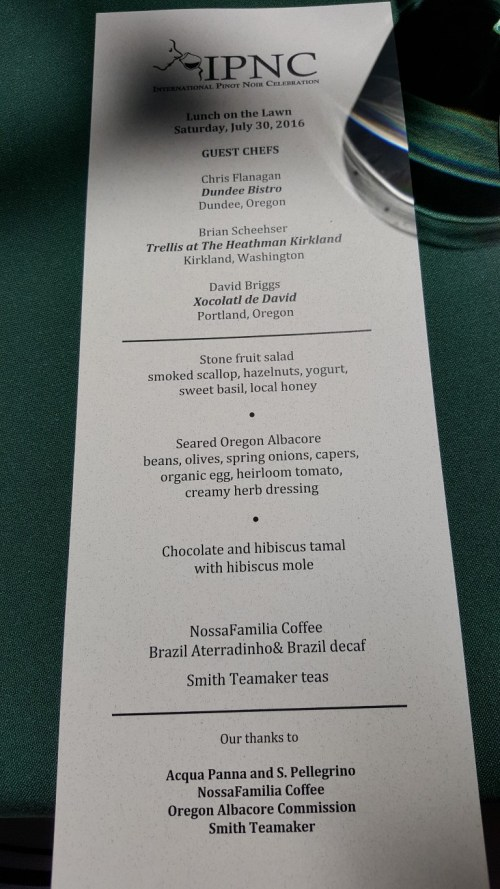 Lunch on the Lawn Menu - Featuring work by amazing local Chefs