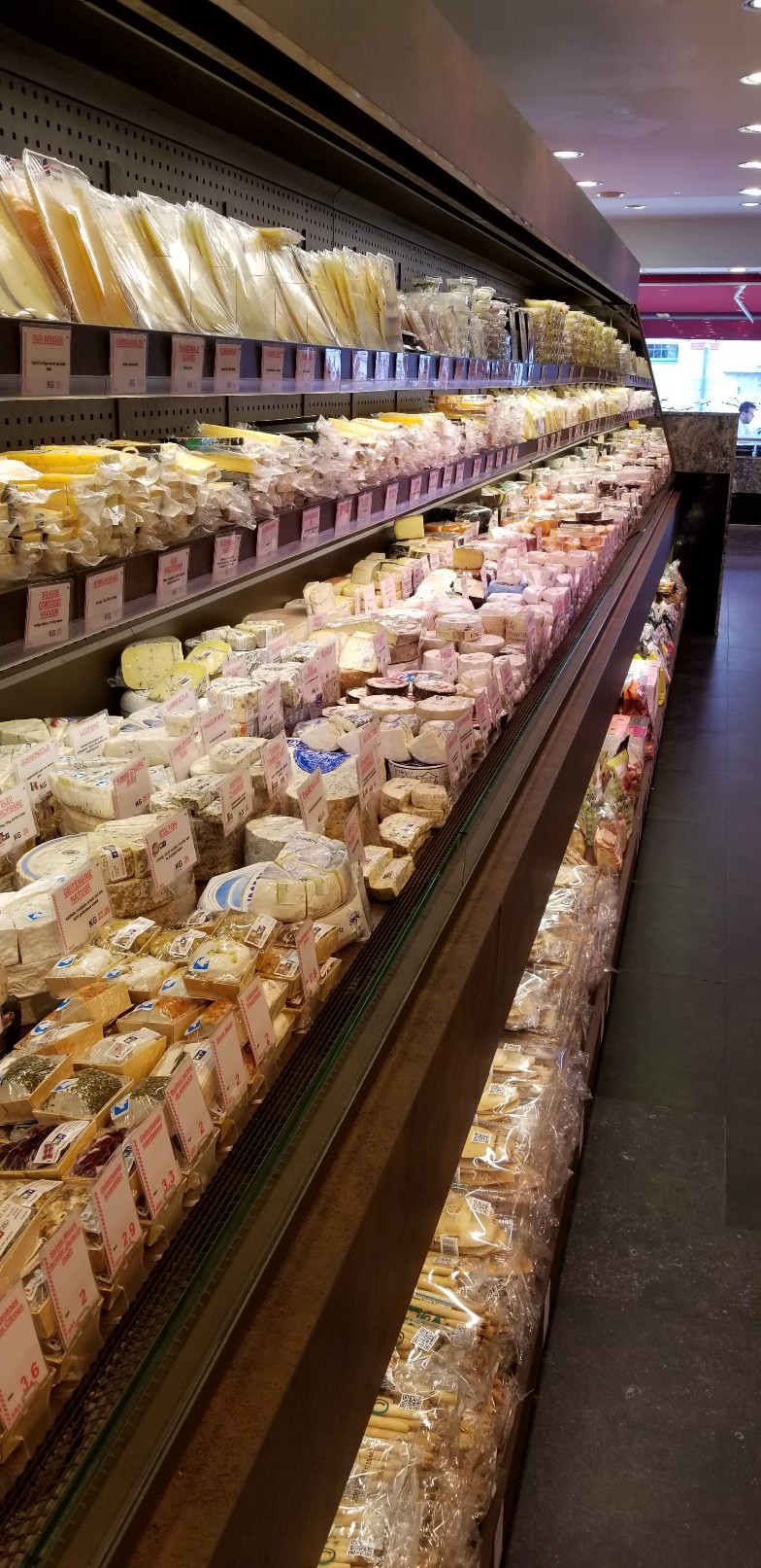 European Supermarket Cheese Case