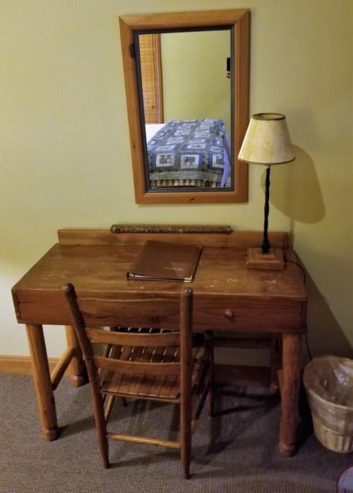 The utilitarian desk at the Weasku Inn wasn't fancy, but got the job done.