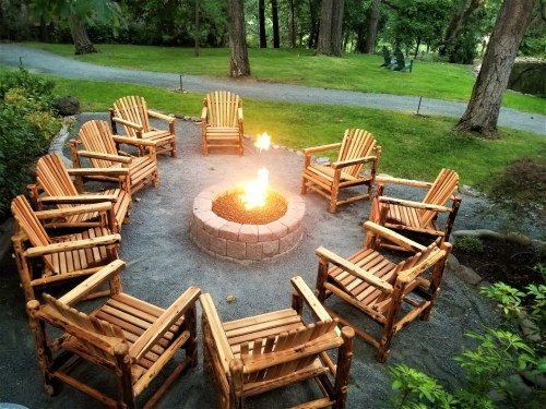 A modern campfire complete with do-it-yourself s'mores.
