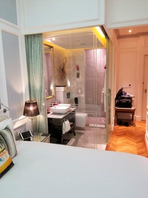 Glass box bathroom at the SO Sofitel Singapore.