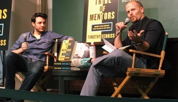 """Tim Ferriss interviewing Tim Urban at a Barnes & Noble book event for Tim's book """"Tribe of Mentors."""""""