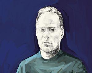 Artist's rendering of Sebastian Junger.