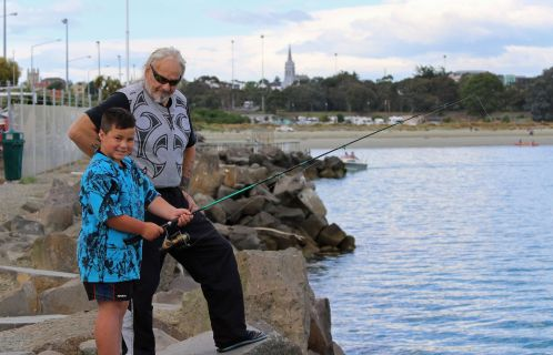 A spot of fishing. Mason McLeod and his grandfather Darrel Ramage.