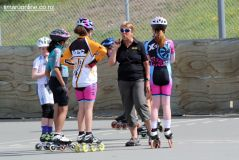 Cheryl Begg, coaching her young charges.