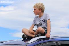 Matt Gould, from Timaru, finds a good vantage point