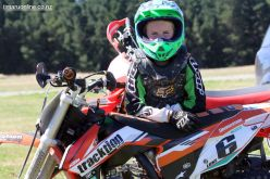 Talented rider Luke Watson (9 yrs) rests up between practice sessions