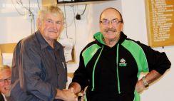 L-R: Current life member, Len King, congratulates Cedric Coll on his life membership.