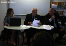 Kayla McPherson (minute secretary), Russell Leech and Craig Calder (CEO)
