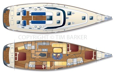 Hylas 63 Deckplan and Interior