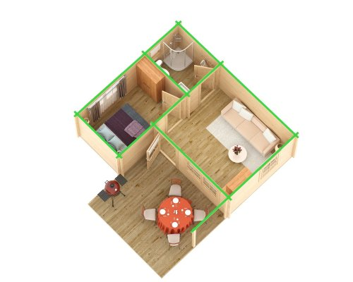 3-Room Log Cabin, Garden Guesthouse Oscar 21m2 / 70mm / 5 x 6 m