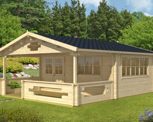 Garden Log Cabin Armin with Veranda 19m² / 70mm / 5,3 x 6,7 m