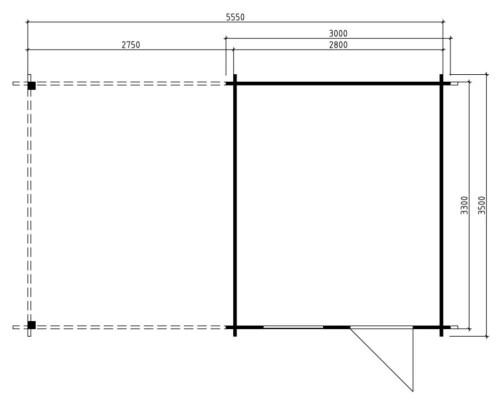 Garden Summer House Carol A 9m² / 40mm / 3 x 3,5 m