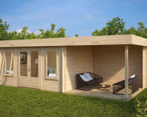 Contemporary Garden Log Cabin with Veranda Jacob D 12m² / 44mm / 7 x 3 m