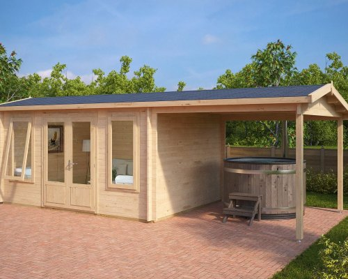 Garden Room with Canopy Eva D 12m² / 44mm / 3 x 4 m