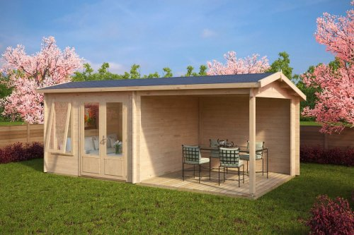 Summer House with Veranda Nora D 9m² / 44mm / 3 x 6 m (10' x 20')
