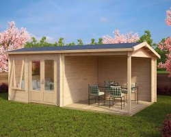 Summer House with Veranda Nora D 9m² / 44mm / 3 x 6 m (10' x 20')