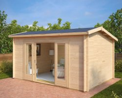 Modern Log Cabin Eva E 12m² / 44mm / 3,2 x 4,4 m