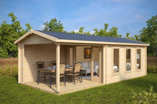 Garden summer house with Veranda Eva E 12m² / 44mm / 3 x 7 m
