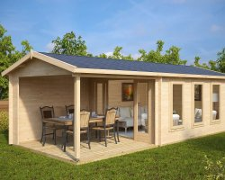 Garden summer house with Veranda Eva E 12m² / 44mm / 3 x 7 m