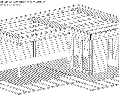 Corner Summer House with Large Veranda Hansa A 18m2 / 44mm / 6 x 3 m