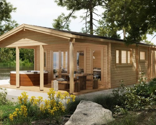 "Large Log Cabin Holiday A ""The Lake House"" 58m2 / 92mm / 13 x 6 m"