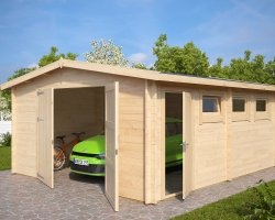 Large Wooden Garage Hansa B with Double Doors / 44mm / 4,5 x 5,5 m