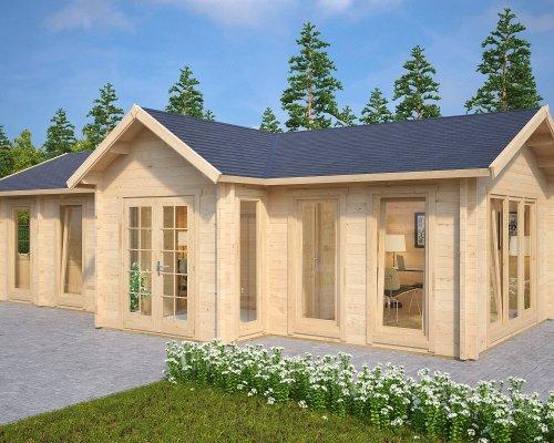 Large Garden Log Cabin The Hansa Office 40m2 / 70mm / 4 x 10m