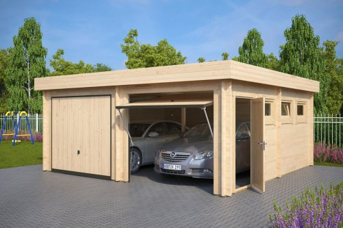 Modern Double Wooden Garage F with Up and Over Doors / 44mm / 6 x 6 m