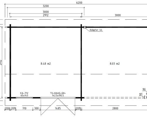 Modern Garden Room with Veranda Lucas D 9m² / 44mm / 6 x 3 m