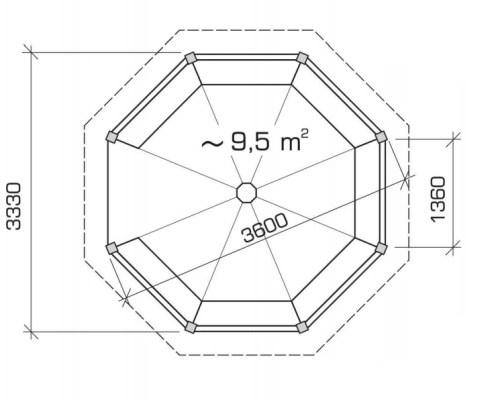 BBQ Gazebo Lotte L 9,5m² / 3,5 x 3,5 m