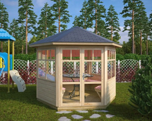 Hexagonal Summer House Paradise 6m² / 42mm / 3 x 2,6 m