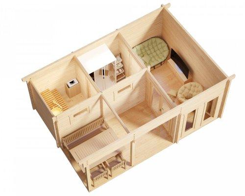 Finnish Sauna Cabin Oliver I 15m2 / 70mm / 6 x 4 m