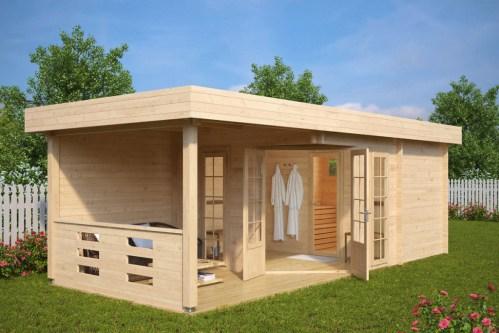 Garden Sauna Cabin Paula 12,5m² / 40mm / 7,5 x 3,2 m