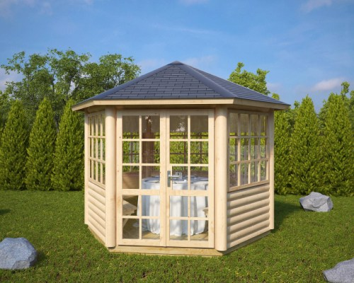 Hexagonal Summerhouse Seattle 6m² / 55mm / 3 x 2,6 m