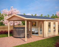 Summer House with Canopy Nora E 9m² / 44mm / 3 x 3 m
