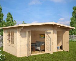 Summer House with Shed Super Otto 15m2 / 44mm / 5 x 3 m
