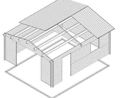 Extra Large Timber Garage Type B 24m² / 40mm / 4,7 x 5,7 m